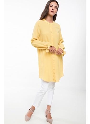 DeFacto Kolları Bağlamalı Gömlek Tunik Sarı